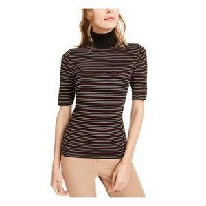 Striped Elbow Sleeve Turtleneck Top